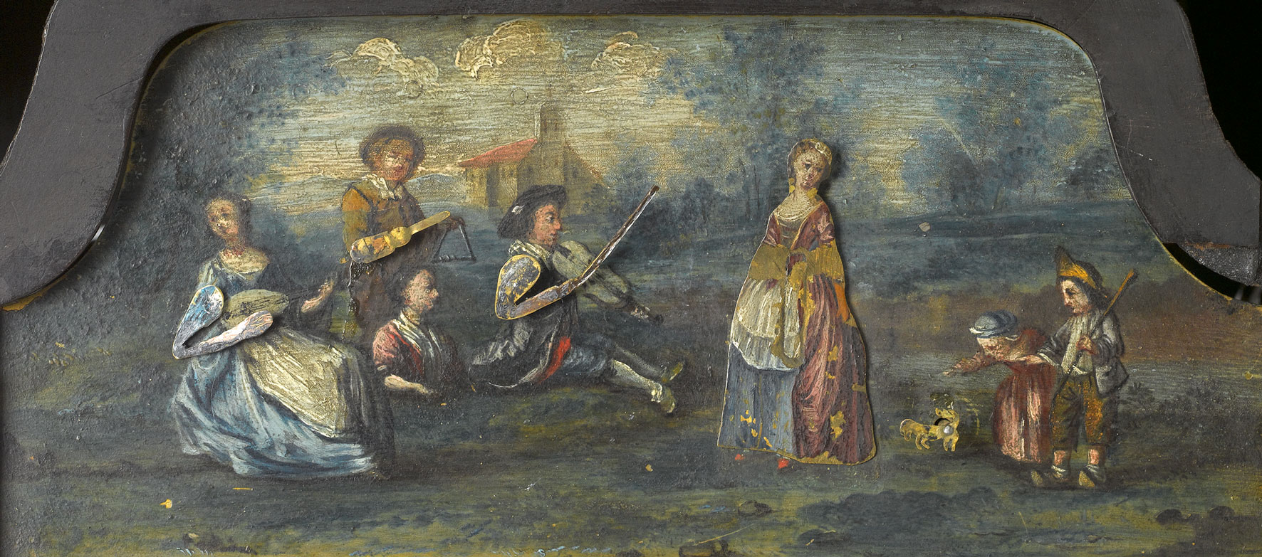 Fragment dekoracji zegara z Sypialni Królewskiej (scena tańca)