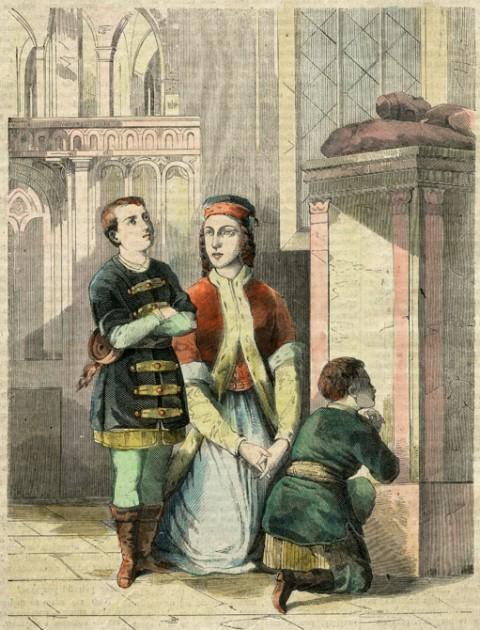 Teofila Sobieska z synami Markiem i Janem na grobie hetmana Żółkiewskiego, swego dziada.jpg