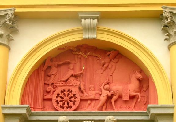 Triumf Jana III - płaskorzeźba w archiwolcie na elewacji zachodniej korpusu głównego.jpg