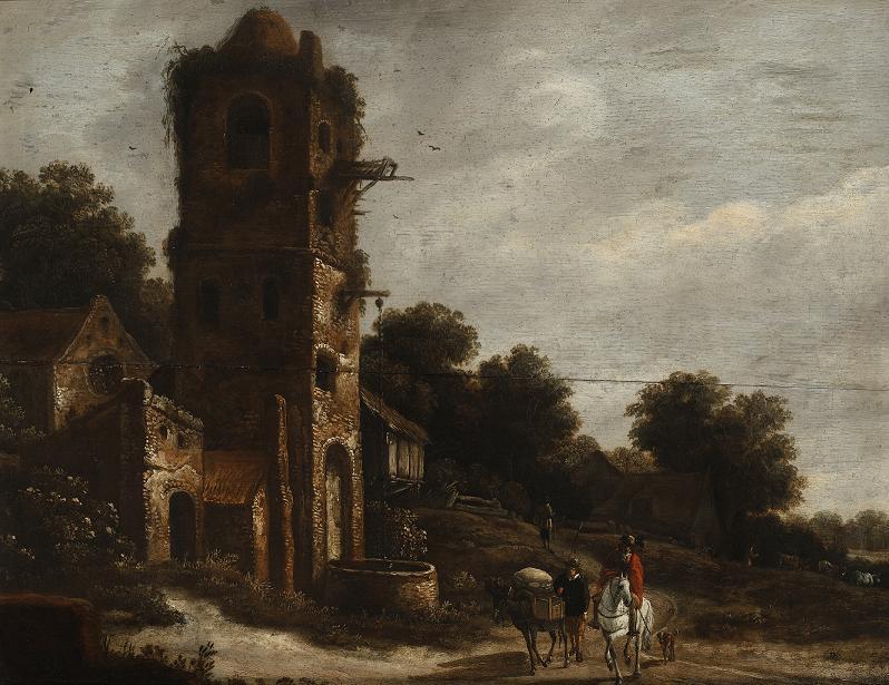 Jeźdźcy u starych ruin, Roelof van Vries, XVII w.JPG