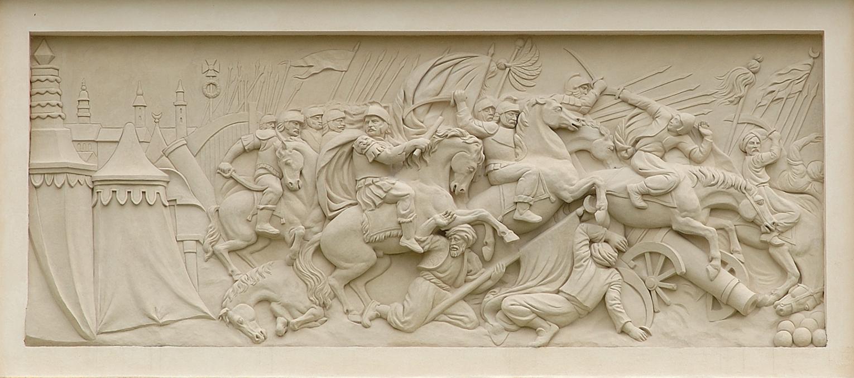 Bitwa pod Wiedniem, płaskorzeźba z attyki pałacu w Wilanowie