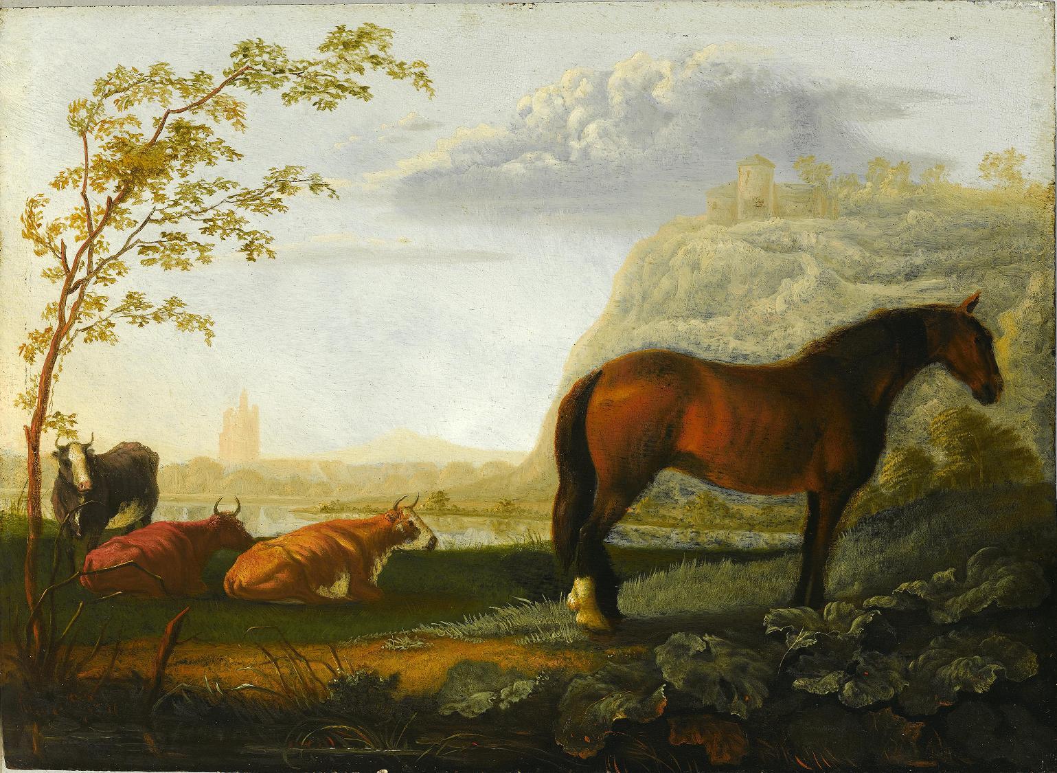 koń i bydło na pastwisku, Holandia XVII wiek.JPG