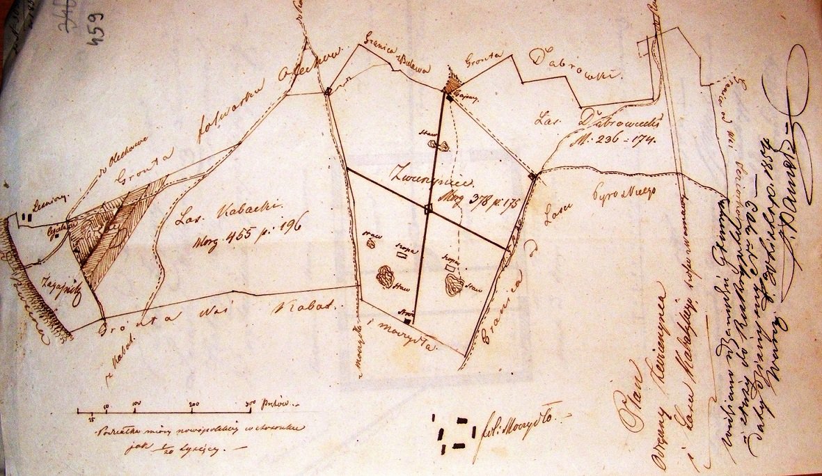Szkic zwierzyńca w lesie Kabackim z 1854 roku (AGAD, AGWil, Administracja leśna, sygn. 145, s. 459)..jpg