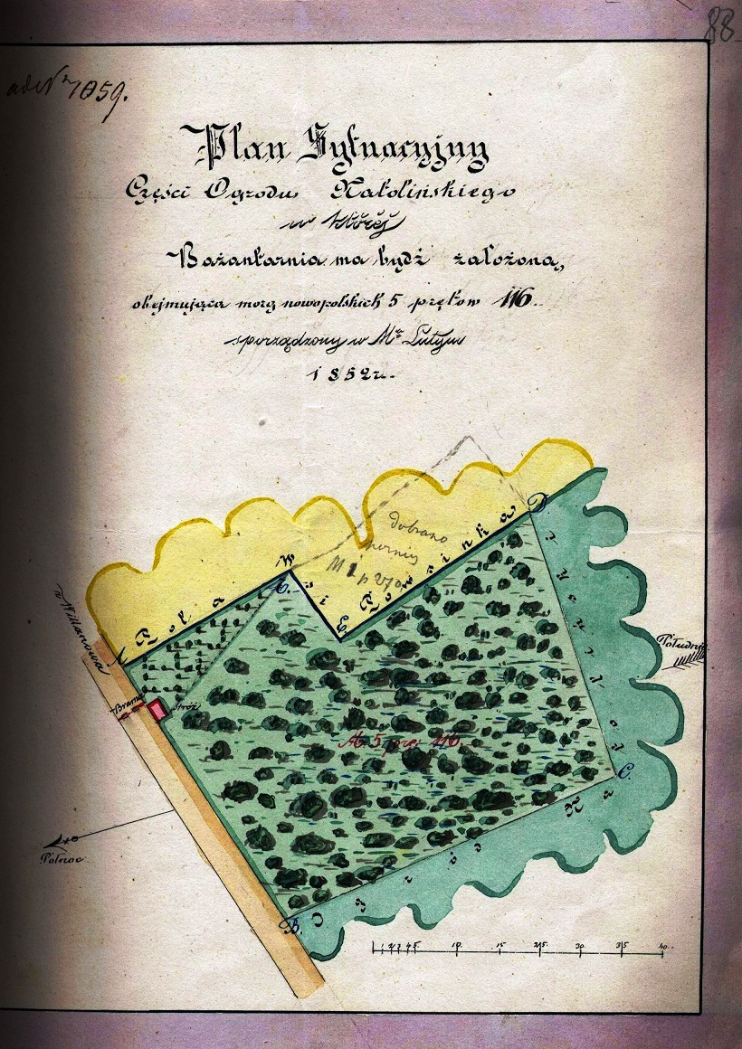 Plan bażantarni Natolińskiej z lutego 1852 roku (AGAD, AGWil, Administracja leśna, sygn. 145, s. 88)..jpg