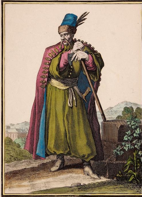 Polski hajduk z końca XVII w. kolorowany miedzioryt wg Caspara Luykena.jpg