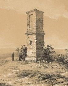 Pomnik hetmana Żółkiewskiego pod Cecorą litografia Napoleona Ordy 1875.jpg