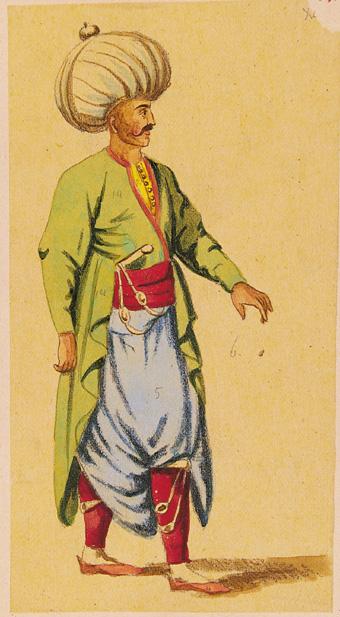 Oficer janczarów w tradycyjnym mundurze, XVIII w..jpg