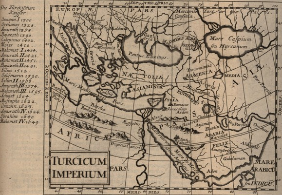 Mapa imperium tureckiego ryt J Koppmayer w J C Wagnera Delineatio Provinciarum Pannoniae Et Imperii Turcici In Oriente 1685 BN.jpg