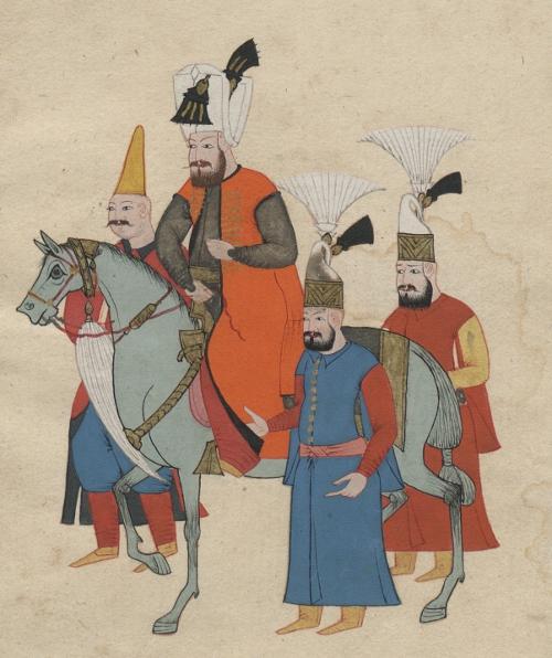 Sułtan Ibrahim han w otoczeniu dostojników, Costumes turcs., ca 1600-1699 Biblioteka Narodowa w Warszawie.jpg