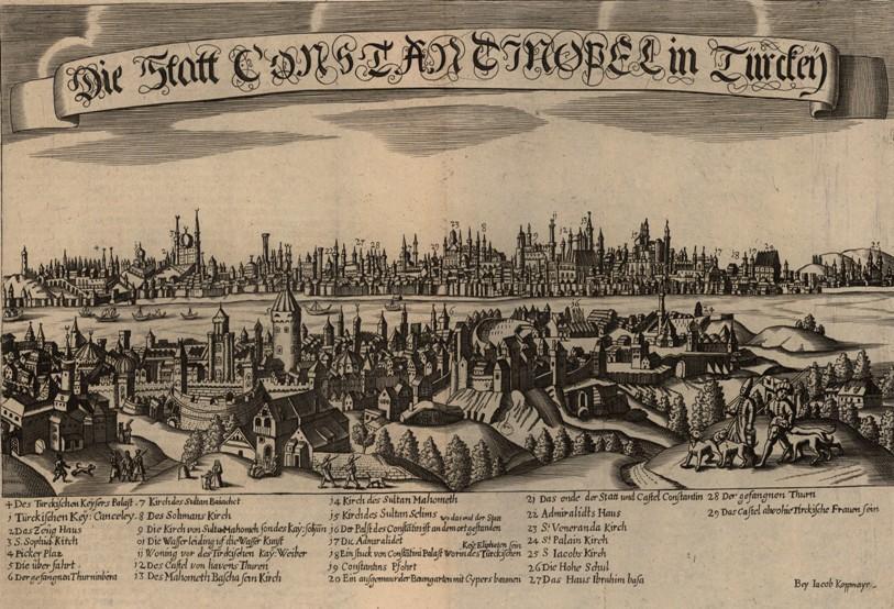 Konstantynopol ryt J Koppmayer w J C Wagnera Delineatio Provinciarum Pannoniae Et Imperii Turcici In Oriente 1685 BN.jpg