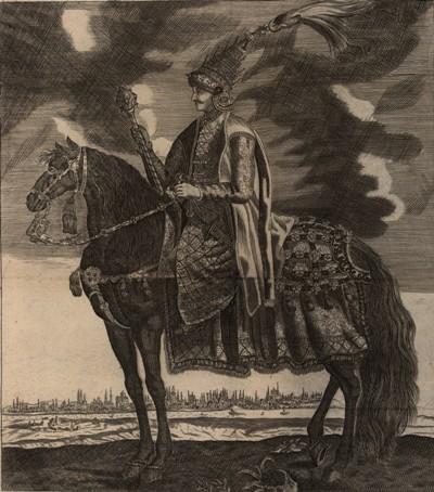 Mehmed IV ryt J Koppmayer w J C Wagnera Delineatio Provinciarum Pannoniae Et Imperii Turcici In Oriente 1685 BN.jpg