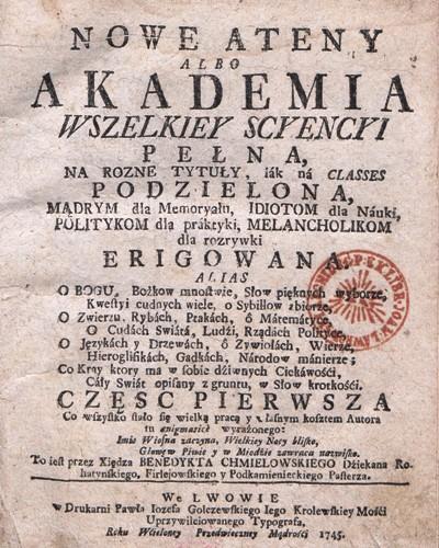Nowe Ateny Benedykta Chmielowskiego 1745 BN.jpg