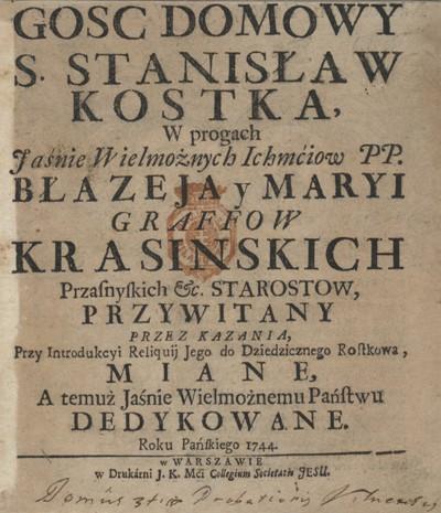 Gosc domowy sw. Stanislaw Kostka 1744 karta tytulowa BN.jpg