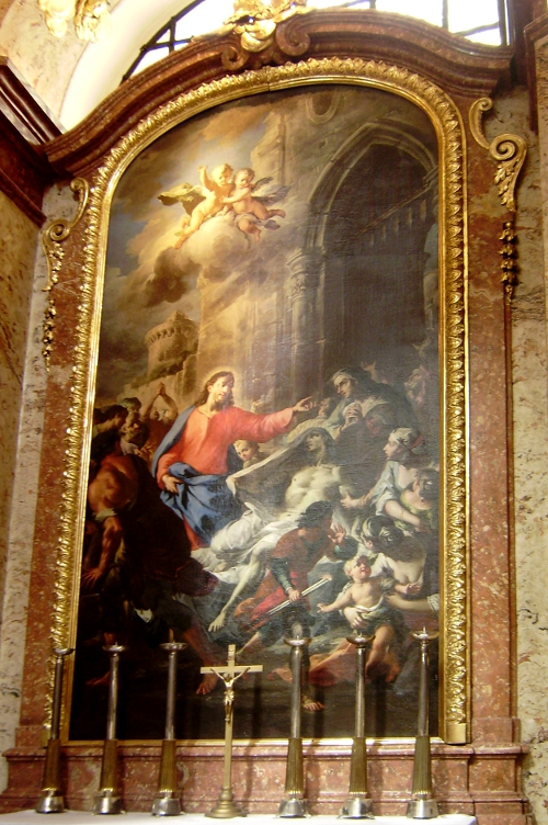 Wskrzeszenie syna wdowy z Nain, obraz Martina Altomontego z kościoła św. Karola Boromeusza w Wiedniu.JPG