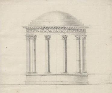 Projekt świątyni Wenery do Olesina - elewacja świątyni w typie monopterosu. Zbiory Biblioteki Narodowej.
