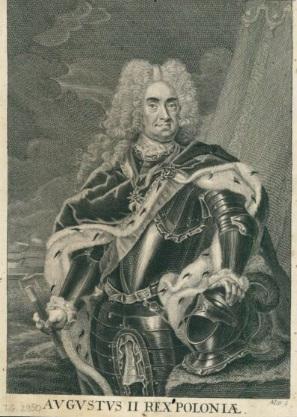 August II, Martin Bernigeroth, miedzioryt, 1731. Zbiory Biblioteki Narodowej.