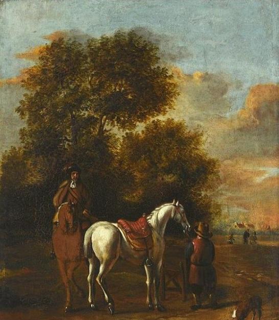 Postój jeźdźców na tle krajobrazu, naśladowca Philippe Wouvermanna, XVII w. Obraz z kolekcji Muzeum Pałacu Króla Jana III w Wilanowie; fot. A. Indyk