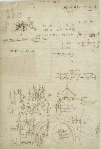Obliczenia matematyczne Kochańskiego na odwrociu jednego z jego listów przechowywanych w Bibliotece Narodowej