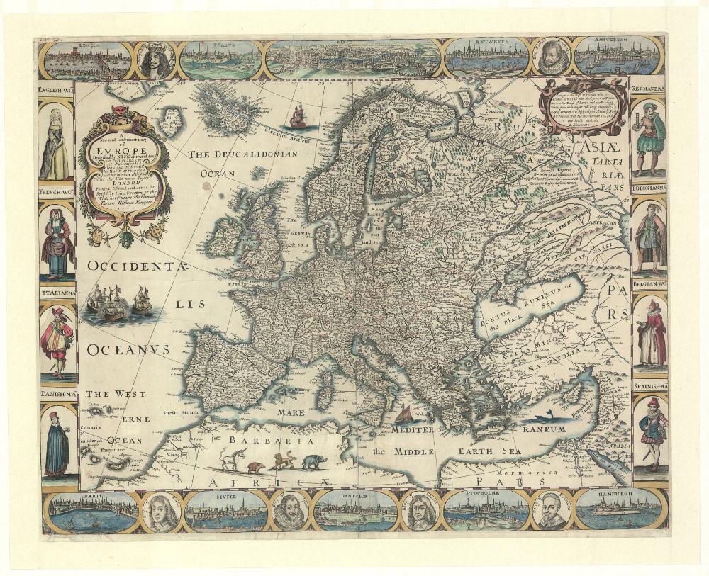 A new and most exact map of Evrope...(Nowa i najdokładniejsza mapa Europy...), Londyn po 1665; Zbiory Biblioteki Narodowej