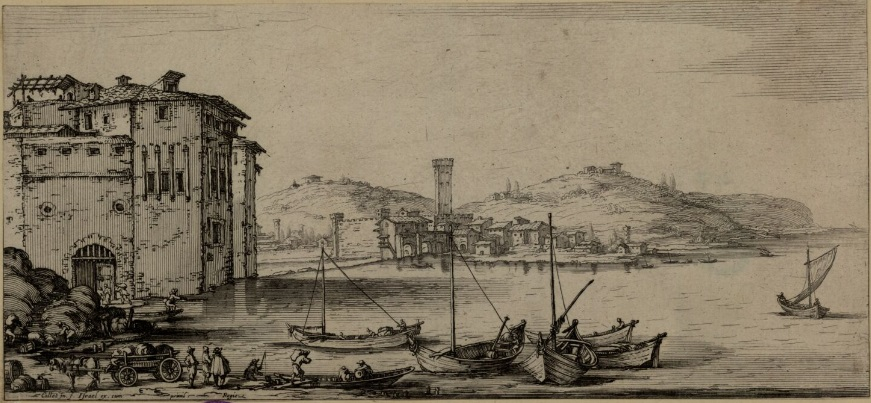 port_Transport towarów, Jacques Callot, akwaforta, ok. 1635; Zbiory Biblioteki Narodowej