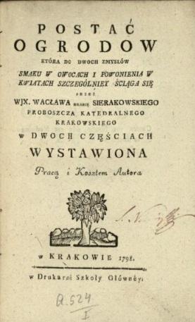 Postać ogrodow, która do dwoch zmysłów smaku w owocach i powonienia w kwiatach szczególniey ściąga się, Wacław Sierakowski, Kraków 1798; Bibiloteka Narodowa