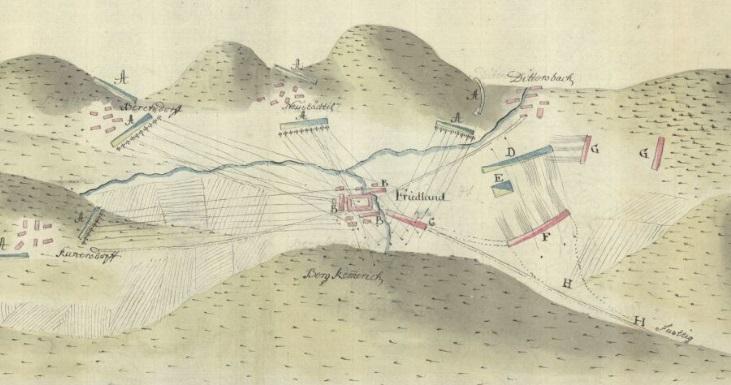 Oblężenie Frytlantu, fragment grafiki z 1757 r.; Biblioteka NarodowaOblężenie Frytlantu, fragment grafiki z 1757 r.; Biblioteka Narodowa