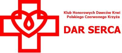 po lewej stronie logo: na środku konturu czewonego, równoramiennego krzyża wpisane jest serce, którego środek stanowi pętla przypominająca kroplę krwi, po prawej stronie napis: klub honorowych dawców krwi polskiego czerwonego krzyża dar serca