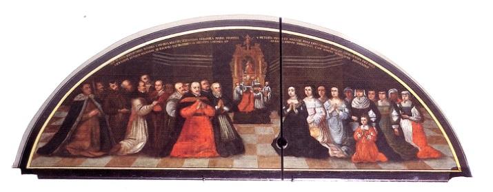 hołd dworu Jana Kazimierza i Ludwiki Marii oddawany relikwiom św. Wiktori.jpg