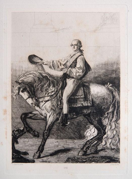 Portret Stanisława Potockiego na koniu - akwaforta J.L. Jules'a Davida