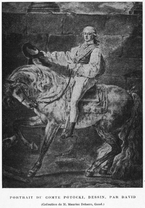 Portret Stanisława Potockiego na koniu - szkic J.L. Davida
