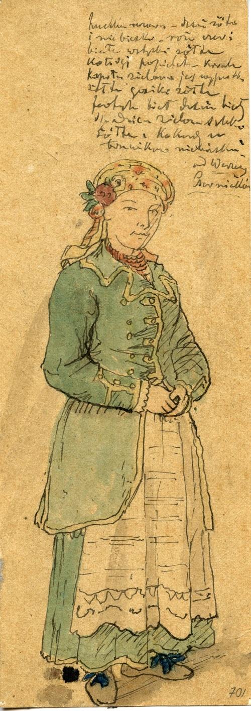 Strój wilanowski, wersja damska, akwarela, 1. poł. XIX w., Muzeum Etnograficzne im. F. Kotuli w Rzeszowie