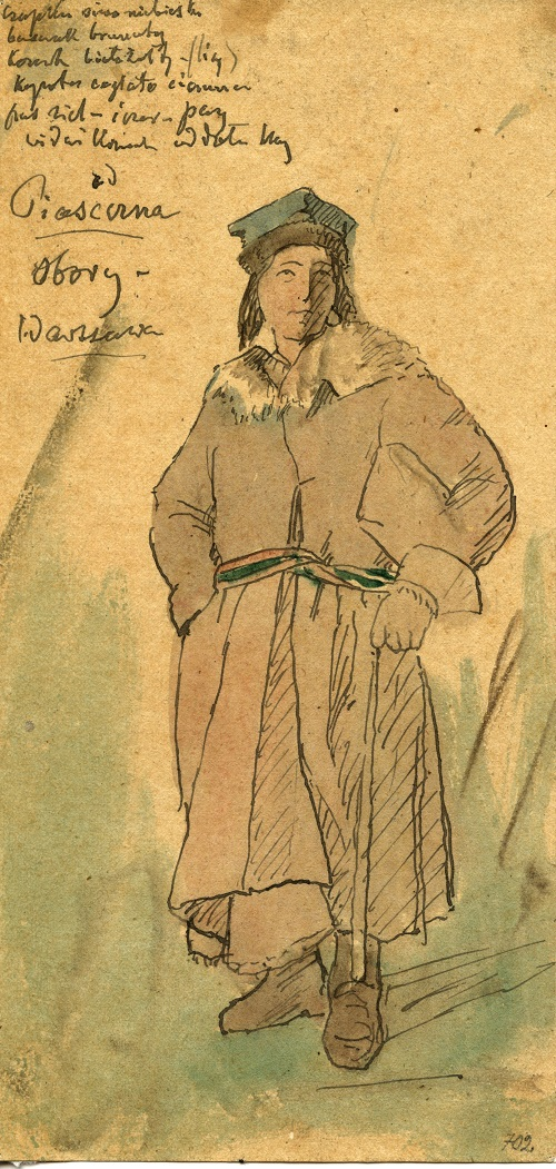 Strój wilanowski, wersja męska, akwarela, 1. poł. XIX w., Muzeum Etnograficzne im. F. Kotuli w Rzeszowie