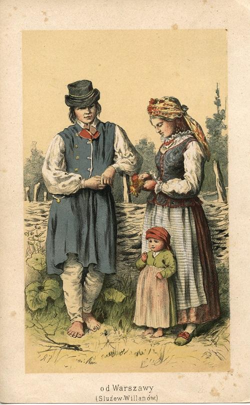 Rodzina w stroju wilanowskim, rycina, wzór M. Fajansa, 1. poł. XIX w., Muzeum Etnograficzne im. F. Kotuli w Rzeszowie