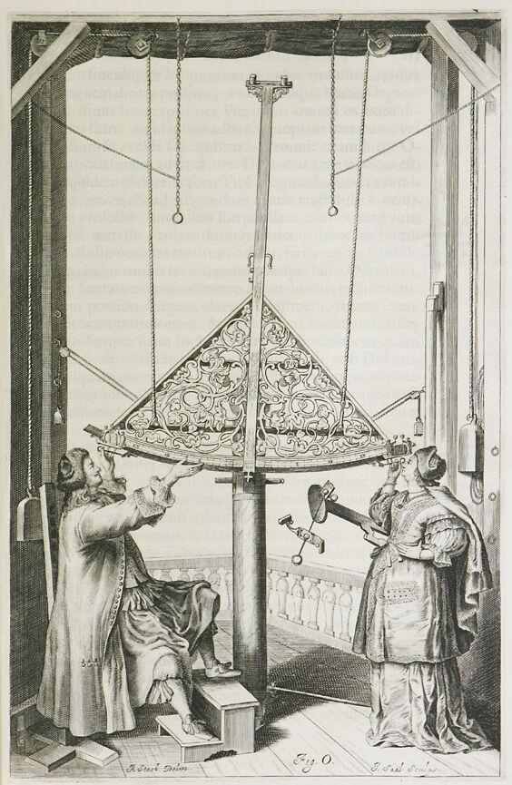 Jan i Elżbieta Heweliuszowie przy pracy, rycina z druku Machina coelestis.jpg