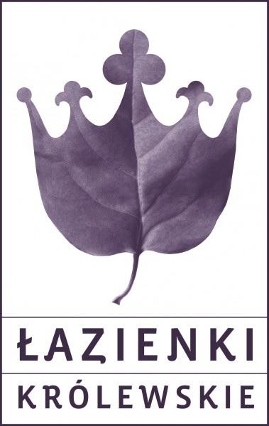 Logo Łazienek Królewskich: na górze korona z liścia, pod nią w dwóch liniach nazwa muzeum: Łazienki Królewskie