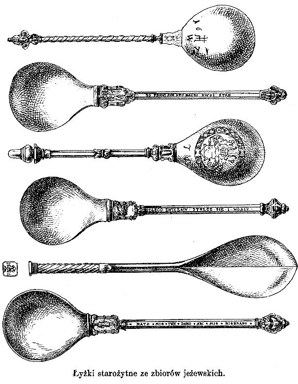 57_łyżki starożytne ze zbiorów jeżewskich, gloger encyklopedia.jpg
