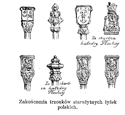 57_zakończenia trzonków starożytnych łyżek polskich, gloger encyklopedia.jpg