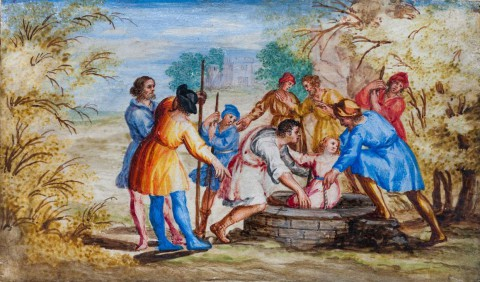 Kabinet rzymski - miniatura ze sceną wrzucenia Jakuba do studni.jpg