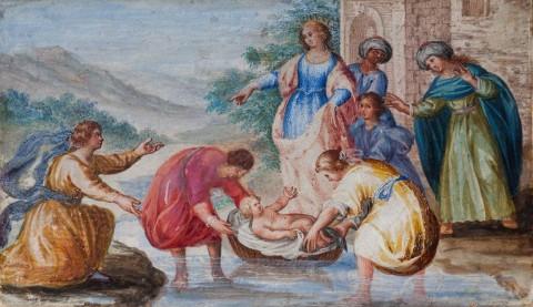 Kabinet rzymski - miniatura ze sceną znalezienia Mojżesza.jpg