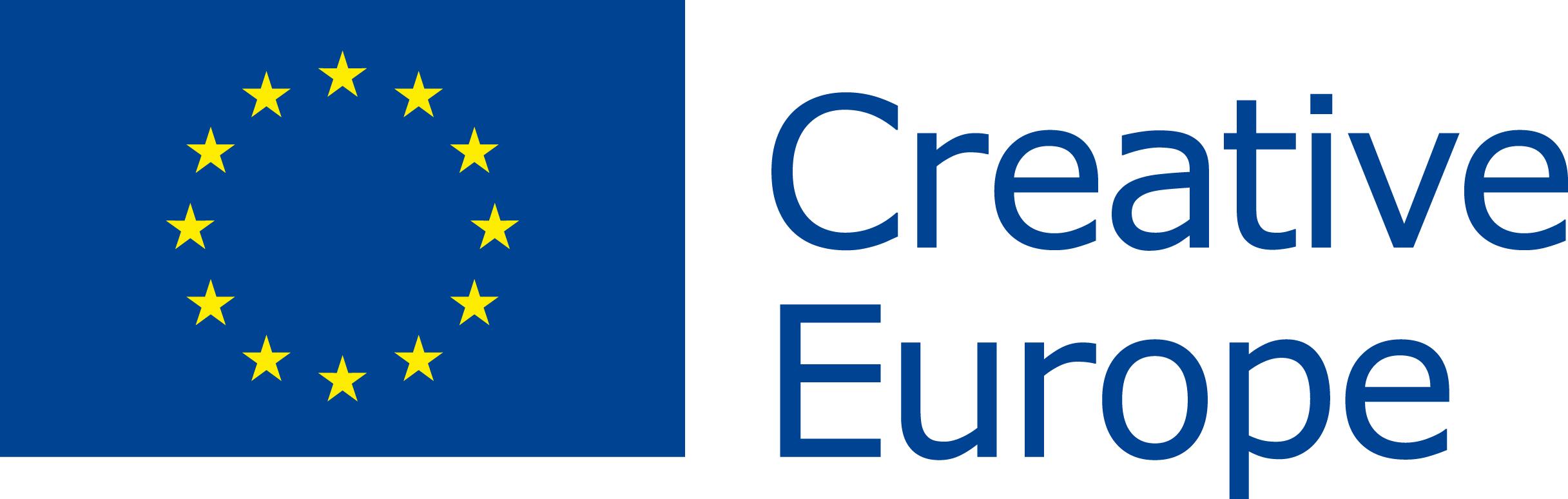 Logo programu Unii Europejskiej Kreatywna Europa, po lewej flaga Unii Europejskiej, po prawej napis: Kreatywna Europa
