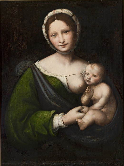 Bernardino Luini (ok. 1480/82 - ok. 1532) – przypisywany, Madonna z Dzieciątkiem, ok. 1515-1520, spoiwo olejne, deska topolowa, 74 cm x 56 cm, Muzeum Narodowe w Warszawie (nr inw. M.Ob.624 MNW), fot. Krzysztof Wilczyński