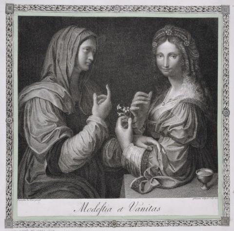 Poz. kat. 38 - Modestia et Vanitas, Giovanni Volpato (173233-1803), według Bernardina Luiniego, Modestia et Vanitas, wyd. Rzym, 1773, miedzioryt, akwaforta, papier czerpany, montaż królewski, 216 mm x 238 mm, 715 mm x.jpg