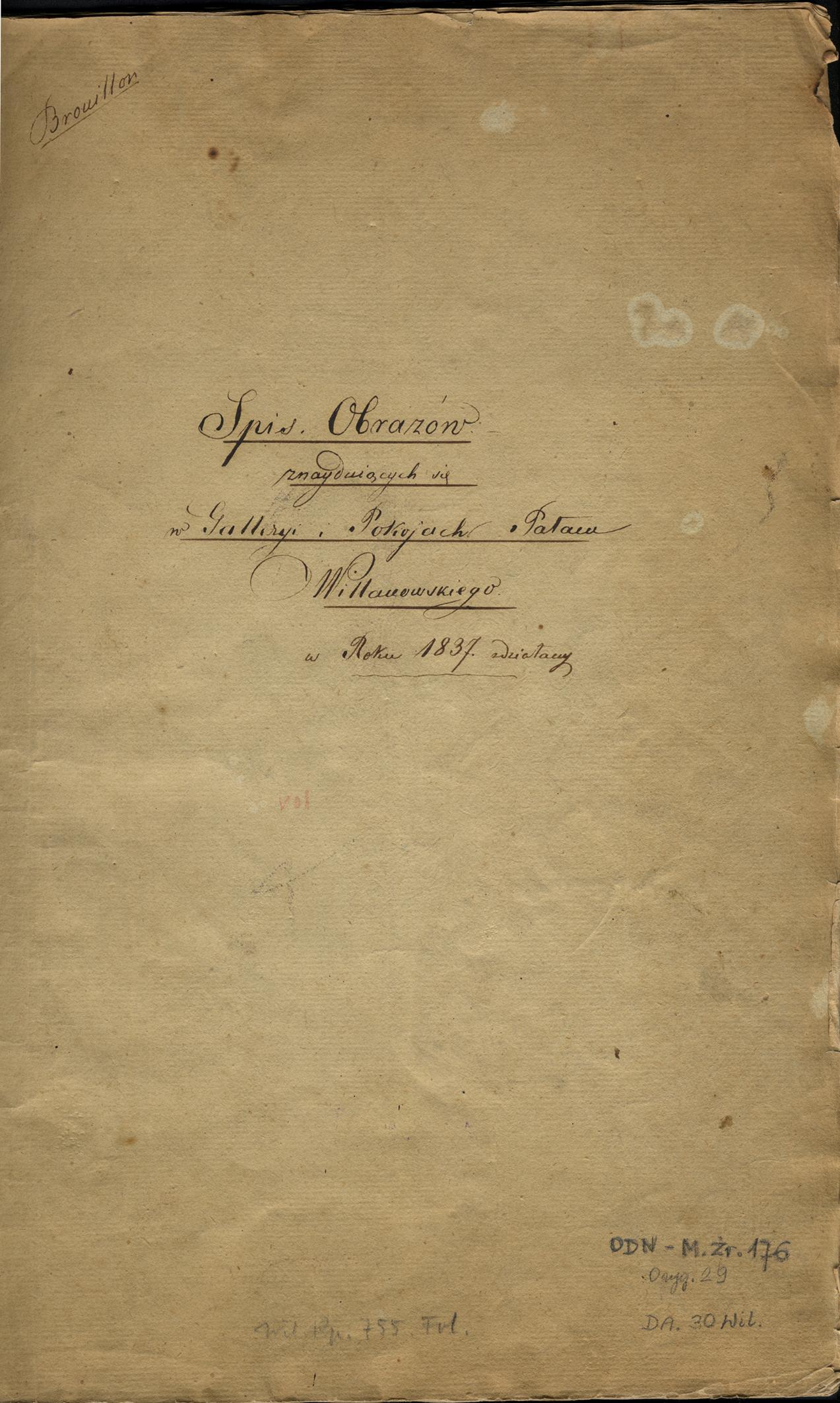 Inwentarz obrazów z pałacu wilanowskiego z roku 1837, pierwsza karta