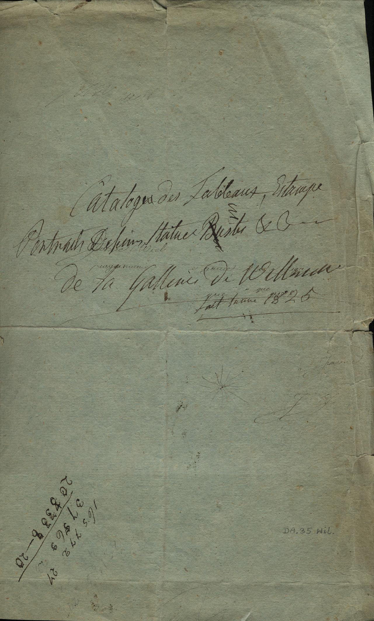 Inwentarz obrazów z pałacu wilanowskiego z roku 1825, pierwsza karta