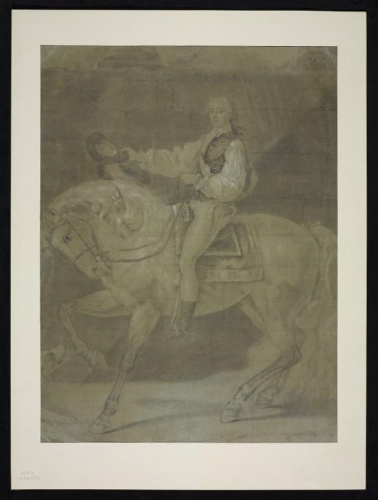 Il. 2. Jacques-Louis David, Portret konny S. K. Potockiego – projekt pierwszej wersji, Neapol 1780, rysunek ołówkiem i kredką na papierze, 588 x 440 mm, Biblioteka Wilanowska nr inw. Rys. 532, Biblioteka Narodowa