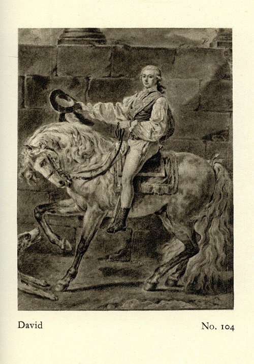 Il.3 Jacques-Louis David, Portret konny S. K. Potockiego – projekt drugiej wersji, Paryż, po czerwcu 1781, ołówek, kredka na papierze, 565 x 440 mm. Rysunek pochodzi z kolekcji Maurice'a Delacre'a w Gandawie, fot. z katalogu aukcji w Bernie w 1949 r.
