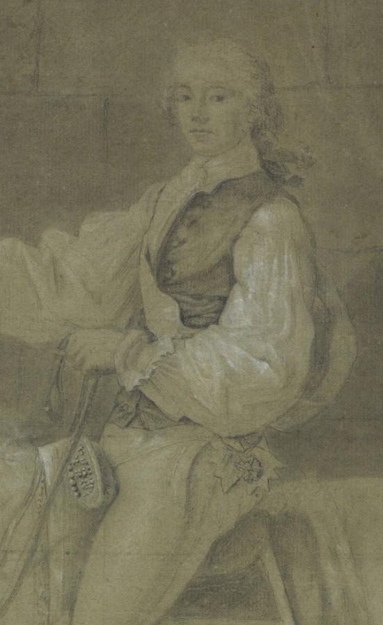 Il.4 Jacques-Louis David, Portret konny S. K. Potockiego – projekt pierwszej wersji (fragment przedstawiający Order Św. Stanisława), Neapol 1780, rysunek ołówkiem i kredką na papierze, 588 x 440 mm, Biblioteka Wilanowska, nr inw. Rys. 532,
