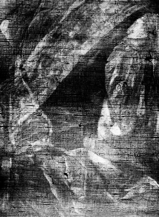 Il. 5. Rentgenogram fragmentu obrazu, na którym widoczne są szarfy dwóch różnych orderów, fot. R. Stasiuk