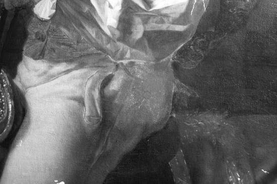 Il. 12. Order św. Stanisława, dziś zakryty spodniami portretowanego: A – reflektogram w podczerwieni, fot. W. Holnicki, B – rengenogram, fot. R. Stasiuk.