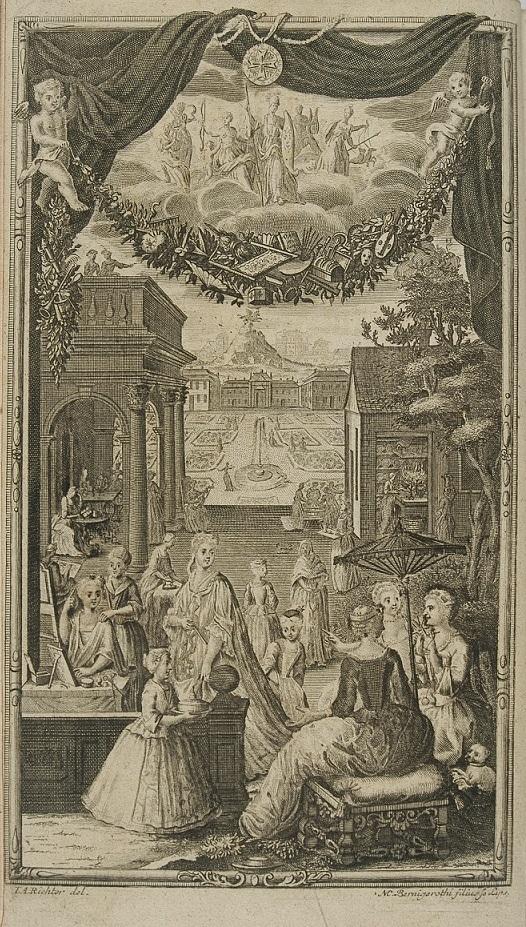 Spotkanie towarzyskie, akwaforta Martina Bernigerotha wg rysunku J.A. Richtera, XVIII w., grafika ze zbiorów Biblioteki Narodowej w Warszawie.